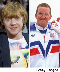 Rupert Grint and Eddie 'The Eagle' Edwards