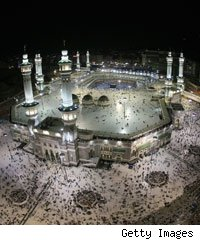 The Grand Mosque in Mecaa which houses the Kaaba - Islam's holiest site.
