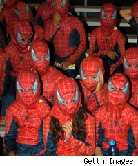 Schoolchildren dressed as Spider-Man during the Spider-Man 40th Birthday celebration at Universal Studios in 2002