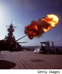A projectile is fired from the battleship USS Wisconsin