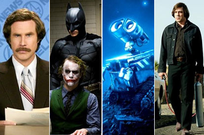 Anchorman, The Dark Knight, Wall-E, No Country For Old Men