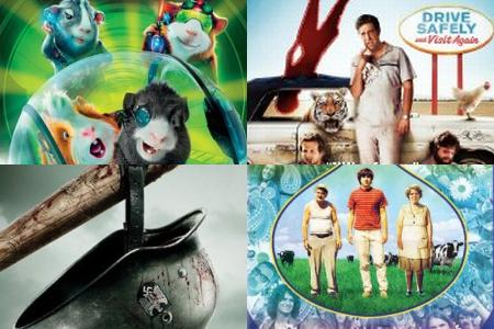 Clockwise from upper left: 'G-Force,' 'The Hangover,' 'Taking Woodstock,' 'Inglourious Basterds'