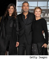 George Clooney, Elisabetta Canalis and George's mum, Nina