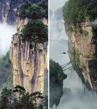 A mountain range in the region of Zhangjiajie and mountain in Avatar