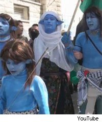 Some members of the Palestinian village of Bilin dress up as Na'vi from Avatar to protest at the West Bank