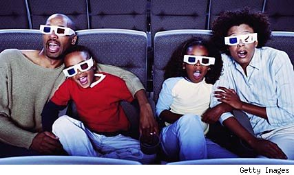 Family wearing 3-D glasses