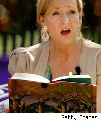 J.K. Rowling, creator of the Harry Potter fantasy series, reads from