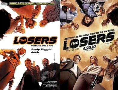 'The Losers' -- Book, Volumes One & Two (left) and Movie, Poster (right)