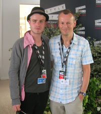 Brady Corbet and Moviefone's Charles Gant at Cannes Film Festival 2010