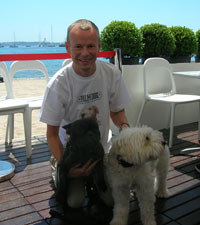 Moviefone's Charles Gant with dogs Evans and Nikita
