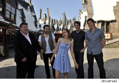 Robbie Coltrane, Emma Watson, Matthew Lewis, and James and Oliver Phelps at the Wizarding World of Harry Potter