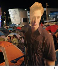 Twilight fans and Robert Pattinson cardboard cut-out camp out at Nokia Plaza in Los Angeles