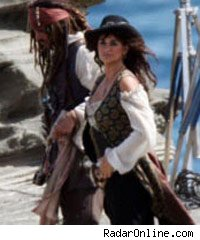 Penelope Cruz on the Pirates of the Caribbean 4 set