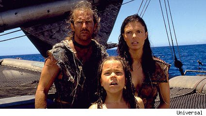 Kevin Costner, Jeanne Tripplehorn, Tina Majorino in 'Waterworld'