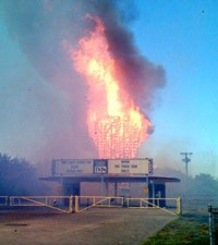 Drive-In Cinema on fire