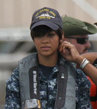 Rihanna on set of Battleship