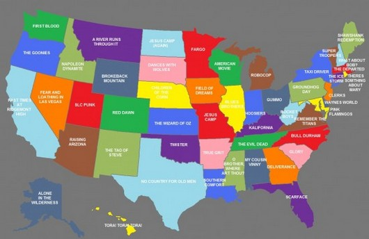 The United States Of Movies Map Assigns Film Title To Each State - Us map of red and blue states