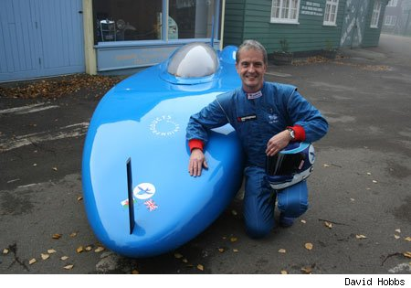 Don Wales with Bluebird electric land speed record vehicle