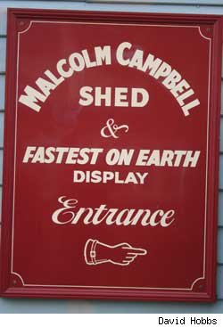 Sign displaying Sir Malcolm Campbell Shed at Brooklands Museum