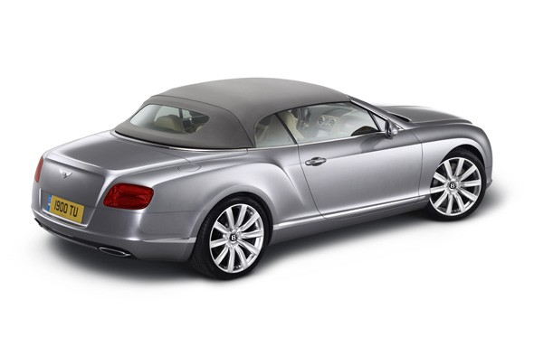 Bentley Continental convertible with hood up
