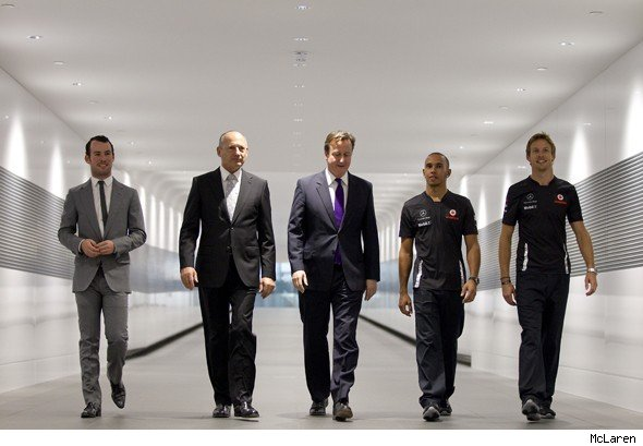 David Cameron with Lewis Hamilton and Jensen Button