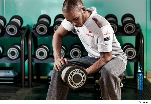 Lewis Hamilton working out