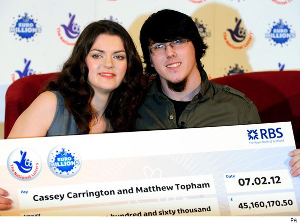 Lottery winners Cassey Carrington and Matt Topham
