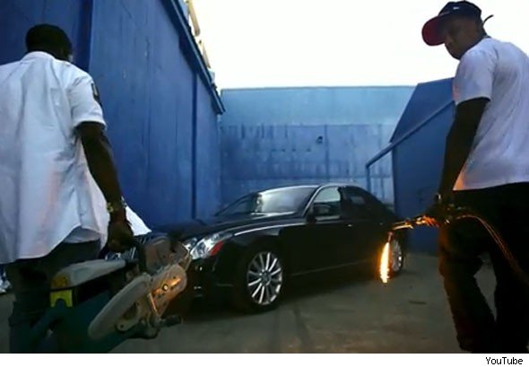 Video: Jay-Z' and Kanye West's trashed Maybach sells for £38,000 -