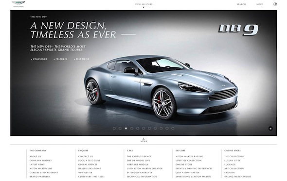 Aston Martin has the best website