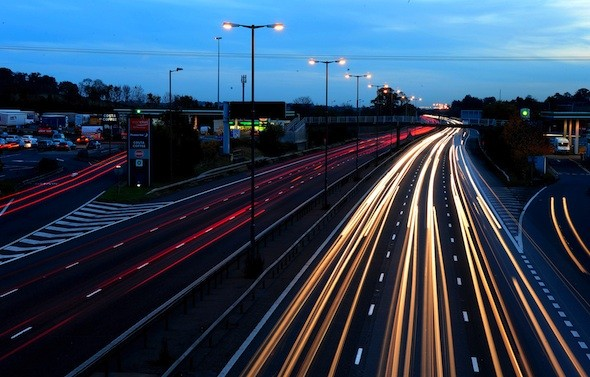 Motorway lights switched off