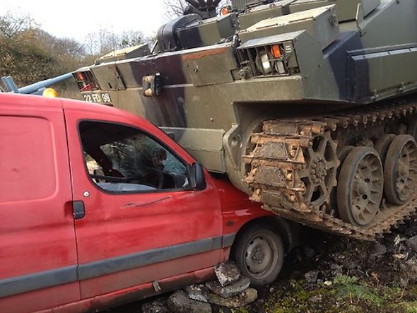 Spares or repair: as squashed by a tank