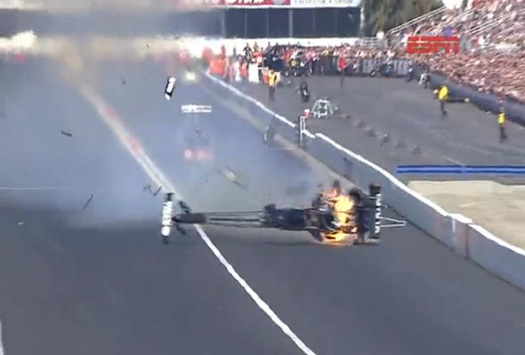 Drag racer survives 300mph fireball