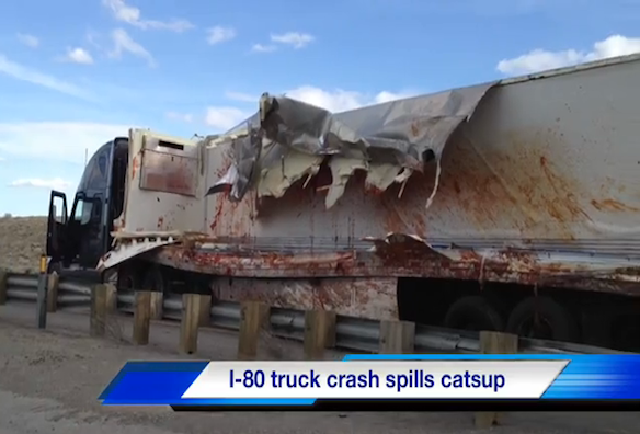 Truck crashes in Reno, spilling ketchup all over road