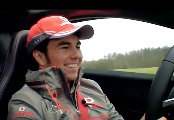 Sergio Perez takes to the Top Gear track in the McLaren P1