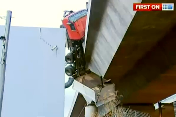 Truck driver survives 20m fall from Melbourne bridge