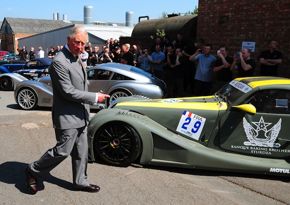 Prince Charles takes a Morgan Plus 4 for a spin