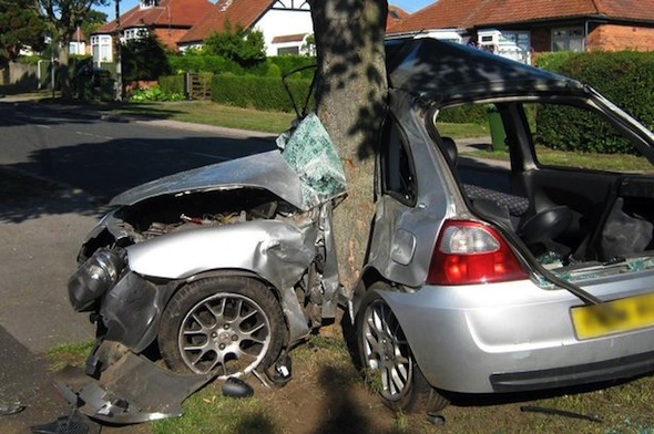 Lad survives car-splitting wreck