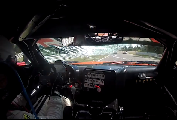 GT3 driver gets hit by a door at 140mph; not bothered