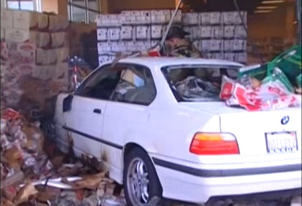 Elderly driver causes off-licence inferno