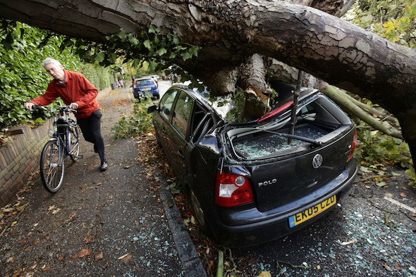 Storm of St Jude causes death and destruction on British roads