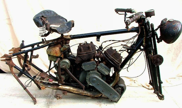 Rotting motorcycle wreck could fetch £15,000 at auction