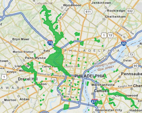 Philadelphia parks loaded from KML using the Search Service