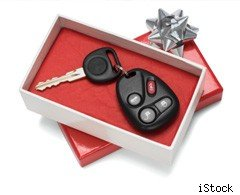 car keys in gift box