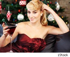 Woman dressed for a Christmas party