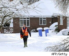 Postman in the snow
