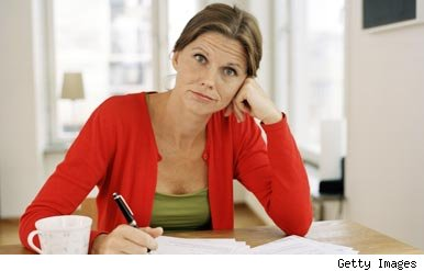 Woman worried about debt