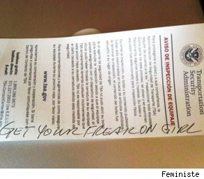 TSA note get your freak on