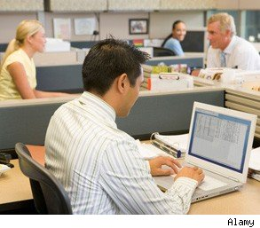 open office plan cubicles