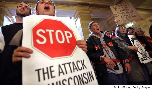 Wisconsin collective bargaining union protests