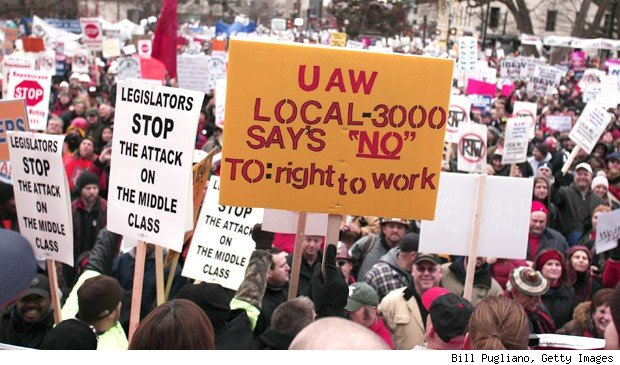 Right-to-work laws protested